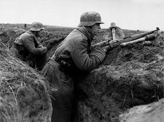German soldiers in the trenches on the Eastern Front