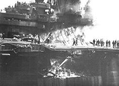 USS Bunker Hill CV 17's devastated flight deck after her kamikaze attack. Kiyoshi Ogawa was the guidance system..