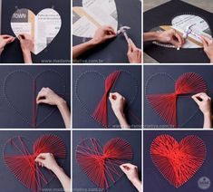 15 Simple crafts to do to decorate all ri …- 15 DIY projects that you can do even without manual talent - – BuzzTMZ String Art Heart, String Wall Art, Nail String Art, Diy Wall Art, Diy Art, String Art Tutorials, String Art Patterns, Valentine Day Crafts, Valentine Decorations