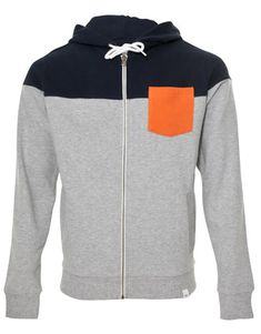 Hoodie with orange pocket.