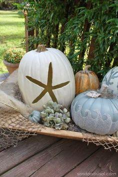 Halloween beach style pumpkin decor