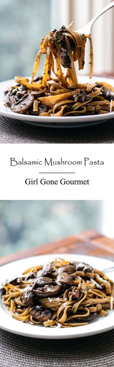 Balsamic Mushroom Pasta An easy and elegant pasta dish with mushrooms tossed in a balsamic sauce made with shallots, garlic, Parmesan, and cream. So delicious! Mushroom Pasta, Mushroom Recipes, Mushroom Sauce, Mushroom Caps, Large Mushroom, I Love Food, Good Food, Yummy Food, Tasty