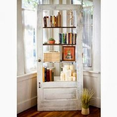 Old door turned into a bookcase