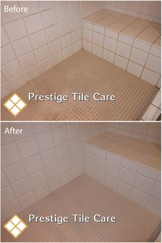 Cleaning Tile Shower And Colorsealing Grout In On Tile Floor.