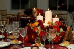 Candle and flower centerpiece
