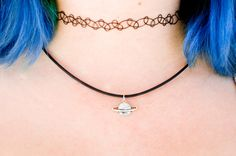 Saturn Choker Necklace / Space Choker Necklace / by shopspacetrash Saturn Tattoo, Fashion Models, Piercings, Space Grunge, Shell, Tattoo Choker, 90s Fashion Grunge, Moda Emo, Style Outfits