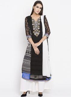 251f601475e Black Faux Georgette Readymade Palazzo Suit 135186 Indian Salwar Kameez