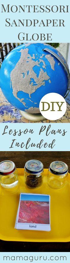 Montessori Sandpaper Globe ♥ Preschool ♥ Homeschool ♥ Montessori at Home ♥ Geography Lesson Plans ♥ Globe DIY