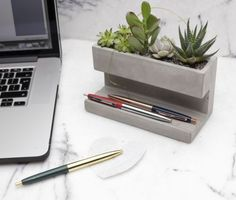 I LOVE IT!!!!!! Kikkerland-Large-Concrete-Desktop-Planter-Pen-Pencil-Holder-Office-House-Plant