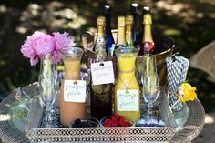 Juices with berries and prosecco