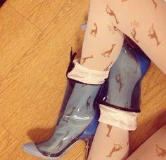 Le flùflù Italy tights + plexi boots miu miu!  http://www.leflufluitaly.com/
