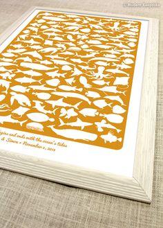 Beach Guest book Alternative - 125 Signature Personalized Destination Wedding Guest Book Print