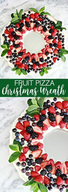 Fruit Pizza Christmas Wreath is the perfect thing to make for your Christmas parties.