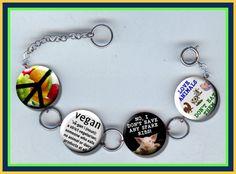 VEGAN Vegetarian Charm Bracelet with Rhinestones Altered Art Jewelry by Yesware11 on Etsy
