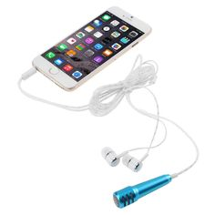 [$2.29] Perfume Stylish Mini Mobile Microphone with Earphone, Mic Cable Length: 1.2m(Blue)