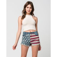 Others Follow Patriotic Womens Denim Shorts ($40) ❤ liked on Polyvore featuring shorts, denim, american flag shorts, destroyed jean shorts, vintage jean shorts, distressed denim shorts and frayed denim shorts