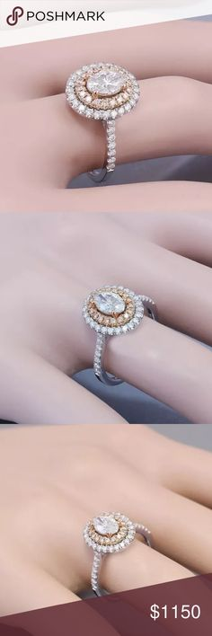 Amazing 1.10 carat 14kwhite&rose gold diamond ring Amazing 1.10 carat 14k white&rose gold diamond ring! Center diamond is a 0.50 carat oval cut diamond. Will come with appraisal! Jewelry Rings