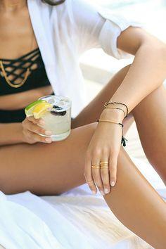 Knox Stacking Ring Set // Laguna Bar Bracelet // Mackenzie Fringe Bracelet // Power Gemstone Bracelet for Protection // Laguna Necklace