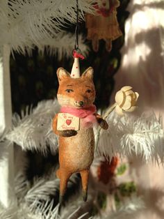 Foxy Valentine Spun Cotton ornament by Arbutus Hunter