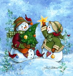 Finishing Touch by Janet Stever ~ Christmas ~ winter ~ snow people