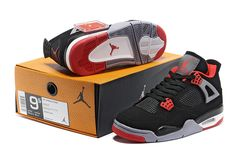 buy online 5d6ec 9041a Air Jordan 4 New Colorway Black Red Grey Suede Runners Shoes, Jordan 4  Black,
