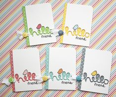 Lawn Fawn Script Hello and Hello Sunshine note cards by Yainea.