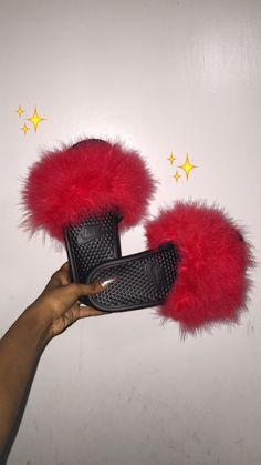Nike fur slippers❤️ on We Heart It Fuzzy Slides, Cute Slides, Gucci, 4th Of July Outfits, Sneaker Heels, Sneakers, Cute Sandals, Dream Shoes, Sock Shoes
