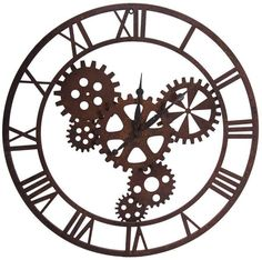 """Metal Clock with Gears Dimension 31.5""""dia"""