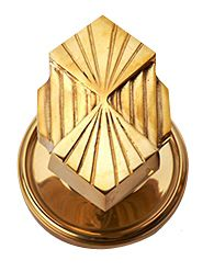 Solid Brass Art Deco Fanfare Dummy Door Knob Set (Polished Brass Finish) - Each knob measures 2 3/4 inch tall by 1 7/8 inch wide with a 2 1/4 inch approximate projection. Constructed from solid brass and hand finished. Available in single or double sided dummy styles.