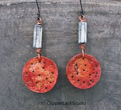 Red copper moon earrings w/ archaic London river beads/ red crater textured copper circles/ one of a kind/  modern Boho / Gifts for her by CopperLarkStudio on Etsy