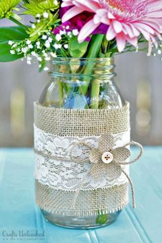 Mason jars decorated jar centerpieces crafts unleashed 1 for weddings gift ideas baby shower boy . Lace Mason Jars, Mason Jar Crafts, Mason Jar Diy, Bottle Crafts, Wedding Centerpieces Mason Jars, Simple Centerpieces, Centerpiece Decorations, Wedding Decorations, Decor Wedding