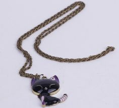 $1.59  69 Cm Sweater Chain Necklace Jewelry Cat Shape Black