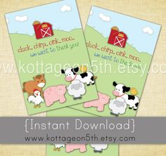 Cuteness!  Instant Download - Coordinating Thank You Card to This Little Piggy Farm Friends Birthday Party Invitation - 4x6 and 5x7 Files - Print your favorite size, available if four different file formats for easy DIY.  Instant download = no wait time!  Adorable zoo themed birthday party thank you cards!  Horse, chicken, pig, sheep, cow, chick, barn yard.  Love!  Please support small business and purchase this listing at www.kottageon5th.etsy.com.