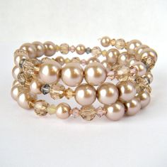 Champagne Nude Glass Pearl and Crystal Beaded by WeddingsByCarrie, $20.00