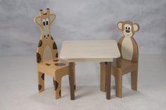 Kids Table w/ 2 Chairs Childrens Table Animal Themed by ichart, $165.00