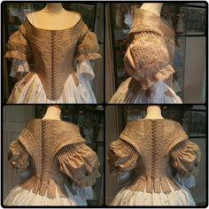 1660s bodice reproduction by Angela Mombers.  Materials : silk,  cane boning, woolen embroidery,  cotton lace,  linen yarn.
