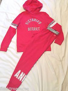 New M Victoria's Secret Angel Jogger sweat Pants Hoodie Set Multi Bling Coral | eBay
