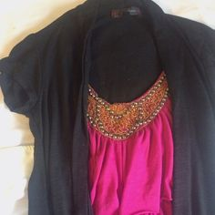 HeartSoul 2 in 1 Top Tank with built in cardigan! The tank has a beautiful beaded neckline, no necklace required! Very cute with jeans and flats. In really good condition. HeartSoul Tops