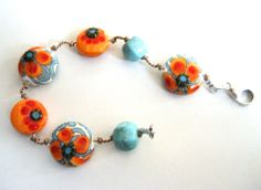 Artisan lampwork by Kimberly Lynn and turquoise with sterling silver