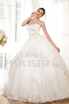 vestidos de novia Hasta Suelo Sin Mangas Tul Sin tirantes Elegante Moderno Glamouroso Marfil  Cristals Encaje