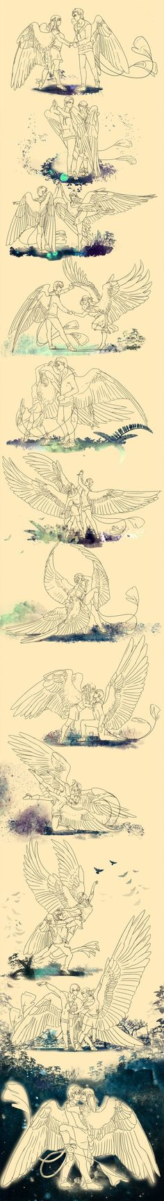 SB: Pas de Deux by Blue-Hearts- absolutely gorgeous. Reminds me so much of a pair of characters of mine. Anime Art Fantasy, Dark Fantasy Art, Art Reference Poses, Design Reference, Drawing Reference, Bird People, Wings Drawing, Poses References, Drawing Poses