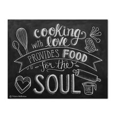 As seen in the December 2013 issue of Good Housekeeping Magazine! The perfect kitchen print for someone that loves to cook! The design features hand lettering and cute illustrations of a whisk, spoon,