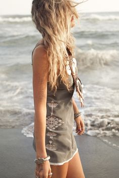 summer outfits womens fashion clothes style apparel clothing closet ideas gray dress beach sea