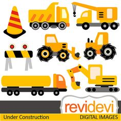 Digital clipart.. Under Construction 07407.. Commercial use clip art for personalized party printable, printed products, web design