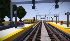 View from middle of tracks facing southbound. Minecraft Oasis, Minecraft Modern City, Minecraft City Buildings, Minecraft Cottage, Minecraft Room, Minecraft Plans, Minecraft Architecture, Minecraft Blueprints, Minecraft Crafts