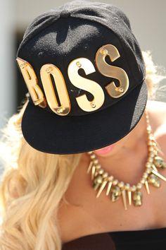 BLACK GOLD BOSS LOGO SNAPBACK HAT $24.99 Snapbacks are in right now! Sexy boss…