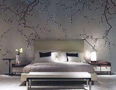 hand painted wallpaper, chinoiserie wallpaper, silk wallpaper