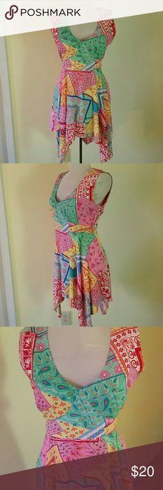Vibrant floral design spring dress size 14 CONNIE HOWARD FLORAL DESIGN DRESS SIZE 14 Very cute with sandals or flip flops Connie Howard  Dresses Asymmetrical