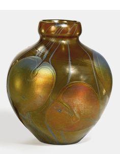 "Tiffany Studios - ""LEAF AND VINE"" DECORATED VASE, favrile glass, circa 1897-1899"