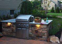 Low voltage lighting. Custom outdoor lighting. Outdoor cook-station lighting.